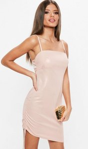 Read more about Pink square neck ruched side bodycon dress pink