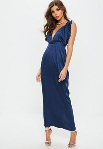 Read more about Navy satin frill maxi dress blue