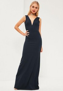 Read more about Navy v plunge maxi dress blue