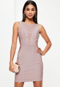 Read more about Purple bandage sleeveless mesh insert bodycon dress purple