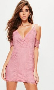 Read more about Pink lace cold shoulder bodycon dress pink