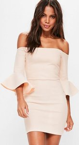 Read more about Nude bardot fishnet frill bodycon dress beige