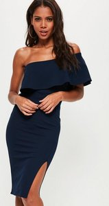 Read more about Navy one shoulder frill split midi dress blue