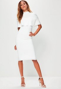 Read more about White frill overlay shoulder midi dress white