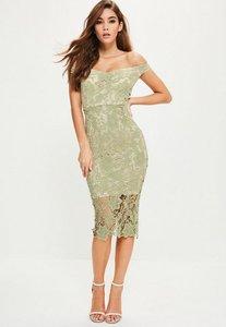Read more about Green lace bardot midi dress green