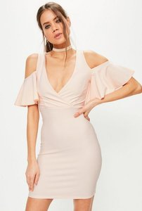 Read more about Pink frill cold shoulder plunge bodycon dress beige