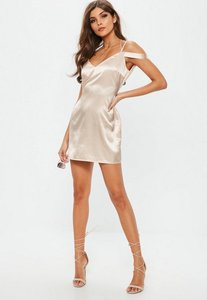 Read more about Nude strappy satin shift dress beige