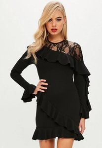 Read more about Black lace insert frill detail dress black