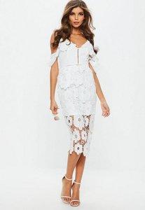 Read more about White strappy frill lace midi dress white