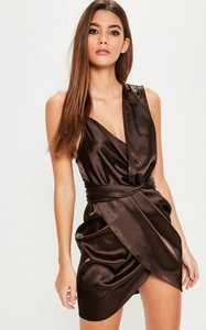 Read more about Brown satin knot front asymmetric dress brown