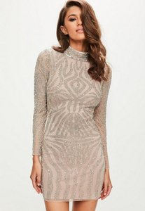 Read more about Nude high neck bodycon dress grey