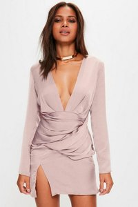 Read more about Pink silky long sleeve panelled shift dress purple