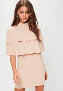 Read more about Pink high neck frill short sleeve dress pink