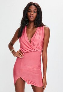 Read more about Pink slinky gather detail wrap dress pink