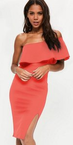 Read more about Coral one shoulder frill split midi dress pink
