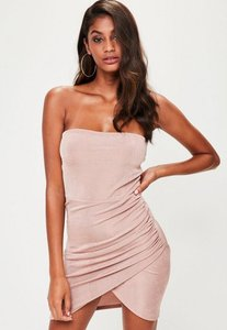 Read more about Nude bandeau ruched side bodycon dress beige