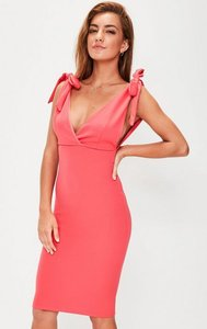 Read more about Pink bow shoulder plunge midi dress pink