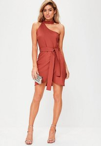 Read more about Red one shoulder choker neck tie waist bodycon dress rust