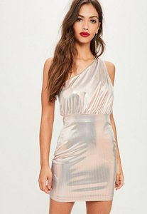 Read more about Silver foiled one shoulder mini dress grey