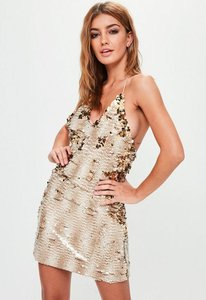 Read more about Nude embellished strappy mini dress grey