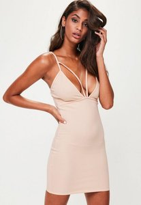 Read more about Nude strappy scuba bust cup bodycon dress beige