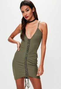 Read more about Khaki ribbed strappy lace up bodycon dress beige