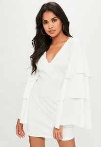 Read more about White plunge tiered sleeve dress white