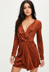 Read more about Orange faux suede plunge wrap shift dress orange