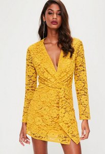 Read more about Yellow plunge lace twist front dress yellow