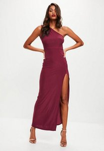 Read more about Burgundy slinky one shoulder dress red