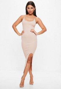 Read more about Nude diamonte straps midi dress beige