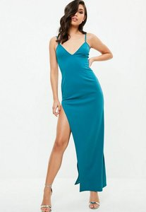 Read more about Blue multi strap plunge maxi dress blue