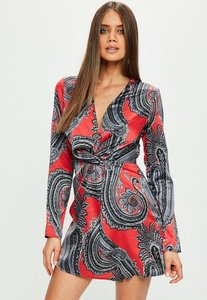 Read more about Red paisley silky plunge wrap shift dress multi