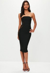 Read more about Black mesh insert bandeau bandage midi dress black