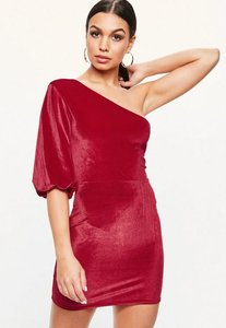 Read more about Red velvet one shoulder dress red
