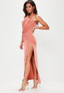 Read more about Pink slinky one shoulder maxi dress pink