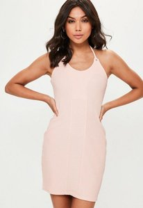 Read more about Pink ribbed seam detail halterneck bodycon dress pink