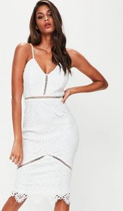 Read more about White lace ladder detail midi dress white