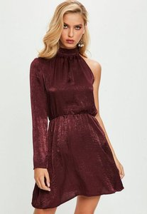 Read more about Purple satin shift one sleeve dress purple