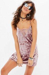 Read more about Purple velvet strappy velvet dress pink