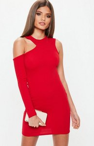 Read more about Red one sleeve cut out bodycon dress red