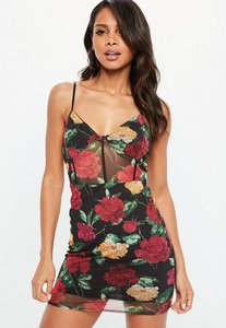 Read more about Black printed mesh strappy plunge dress multi