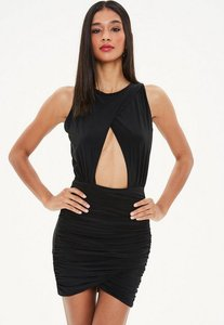 Read more about Black double layer slinky bodycon dress black