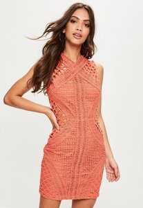 Read more about Orange high neck sleeveless lace bodycon dress pink