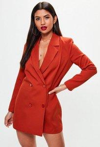 Read more about Orange crepe blazer dress brown