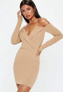 Read more about Camel bardot folded bodycon dress beige
