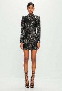 Read more about Black high neck lace mini dress black