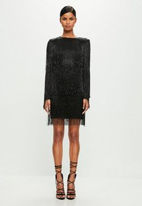 Read more about Black long sleeve sequin tassel mini dress black