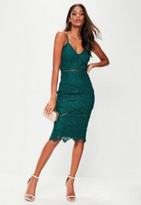 Read more about Green lace ladder detail midi dress green