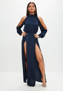 Read more about Navy split front maxi dress blue